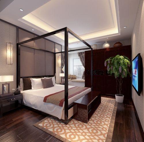 中式新中式装修效果图国际城四居室简约卧室装修效果图片