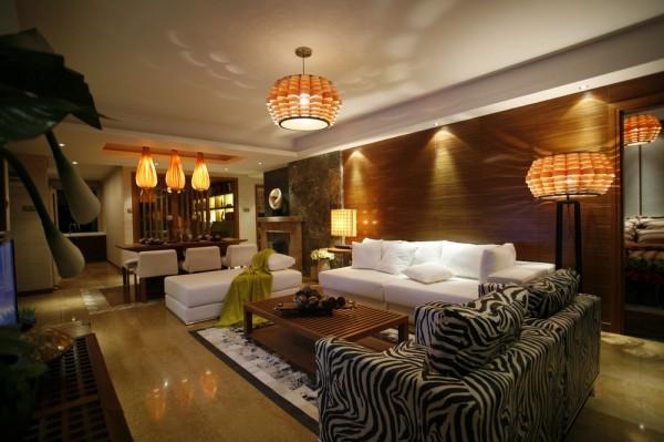 东南亚风格别墅国瑞生态城小资客厅装修效果图片 装修美