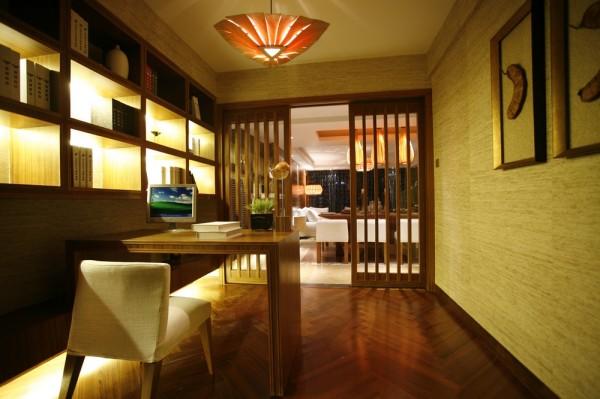 东南亚风格别墅国瑞生态城小资书房装修效果图片 装修美