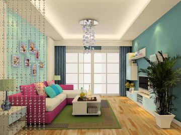 中国浪漫主义 现代中式 三室