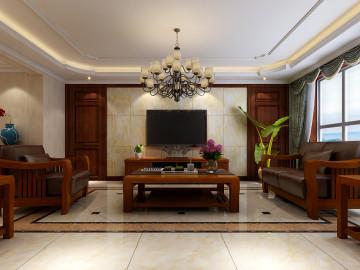 华城绿洲三室中式风格设计