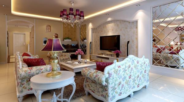 欧式田园混搭三居别墅80后客厅装修效果图片 装修美图 新