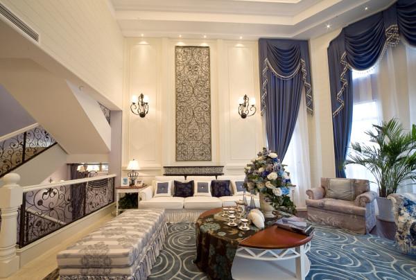 领别墅简约欧式田园混搭客厅装修效果图片 装修美图 新浪装修家居网