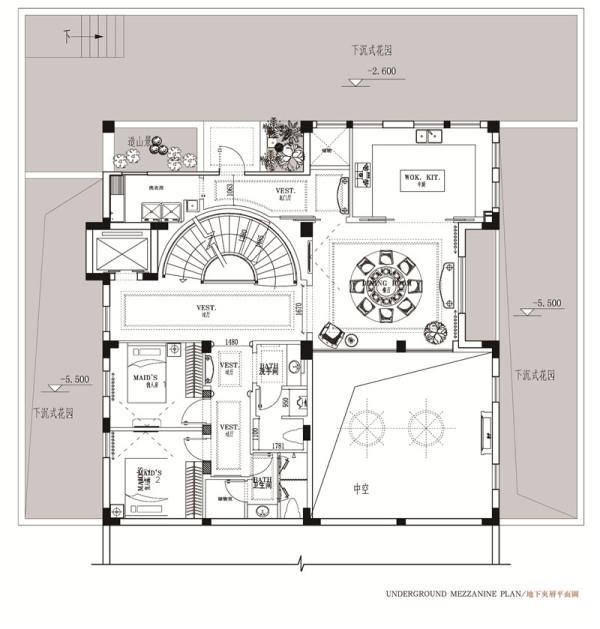 豪庭苑别墅——地下室平面布局图.图片