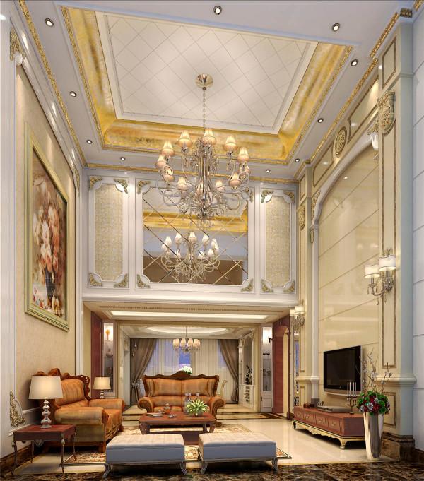 欧式复式欧式风格复式装修别墅装修名雕装饰公园大地客厅装修效果图