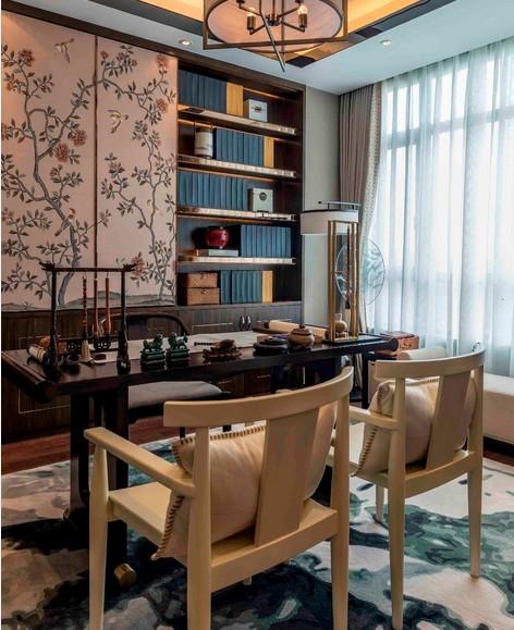 日升装饰新中式案例三居室装修书房装修效果图片 装修美