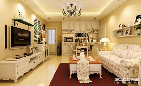 国际华都乡村田园两居客厅装修效果图片 装修美图 新浪装修家居网看