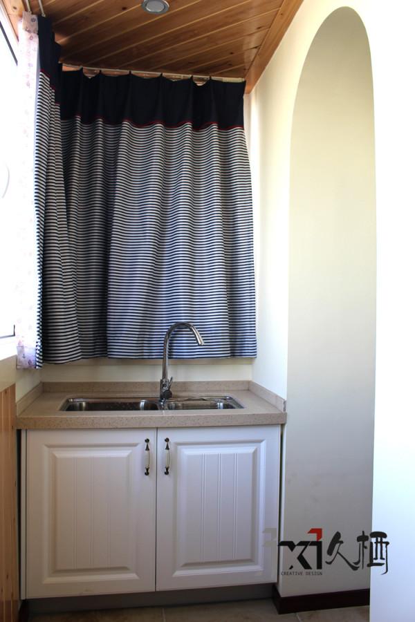 房改造久栖设计仿古砖开放式厨房吧台阳台装修效果图片 装修美图