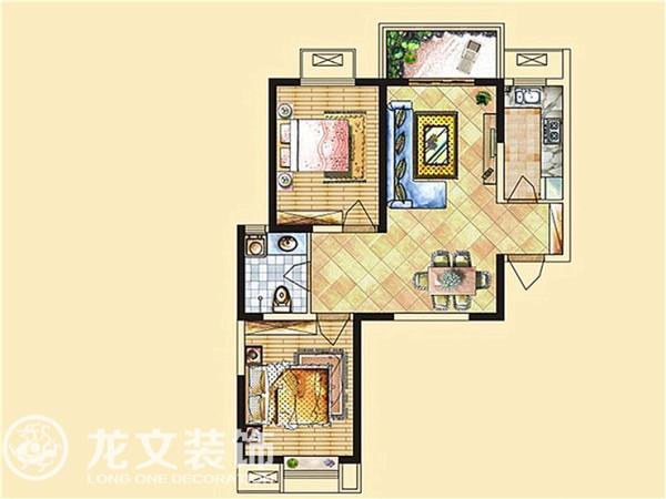 梧桐新语 88平两室 现代简约 装修效果图 龙文装饰 户型图