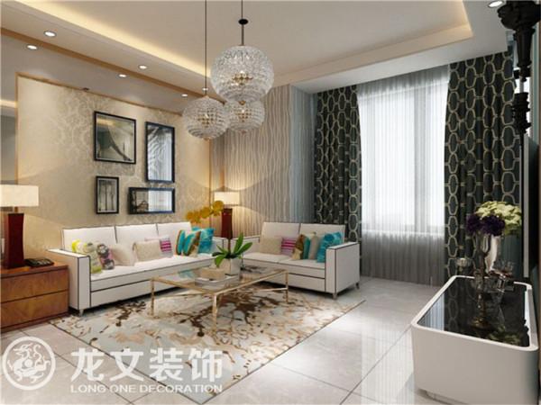 梧桐新语 88平两室 现代简约 装修效果图 龙文装饰 客厅效果图高清图片