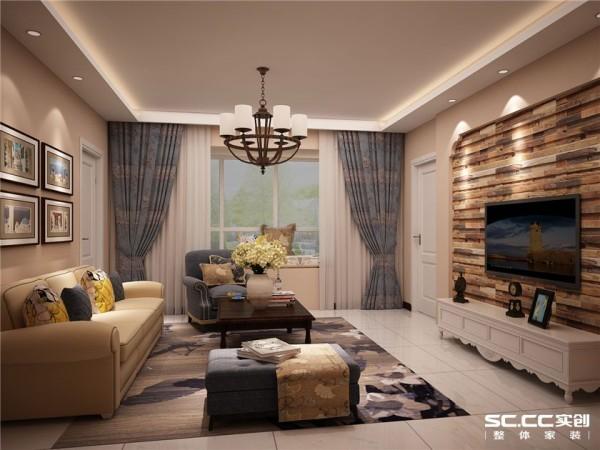 客厅卧室美式乡村田园二居100平婚房14万客厅装修效果图片 装修美图