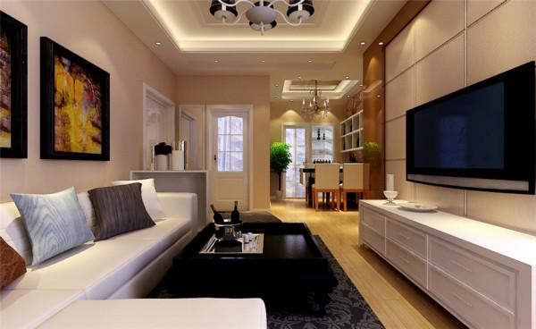 理想公园三室两厅110平米现代简约装修设计客厅装修效果图