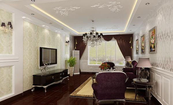 湾景国际三室两厅新古典130平米装修设计图客厅