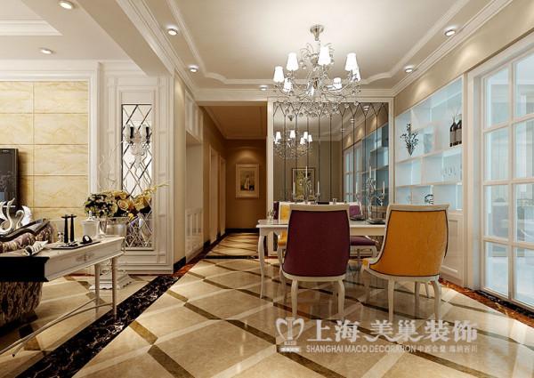 上东一品简欧装修三居室127平效果图样板间 走道布局高清图片